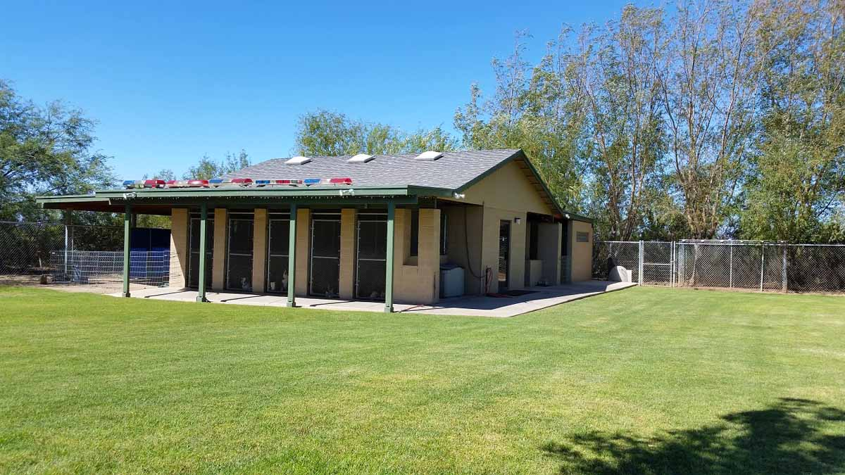 Irondog's Cottonwood Kennels boarding facility and training yard.
